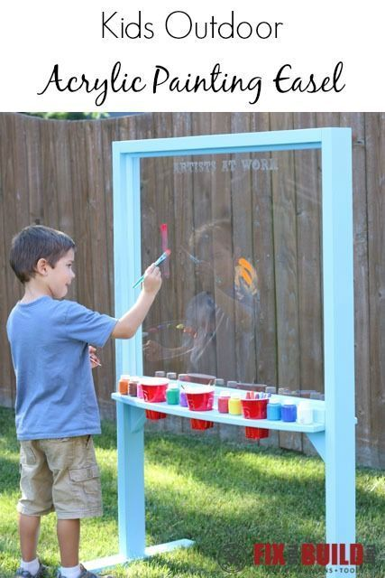 Make an outdoor acrylic painting easel for your little artists. Your kids will…