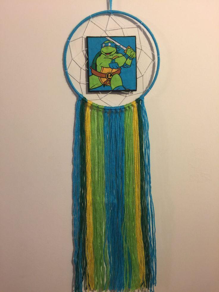 Dreamcatcher Hand Made - TMNT - Leonardo - 20cm Hoop by DreamcatchersByIsale on Etsy