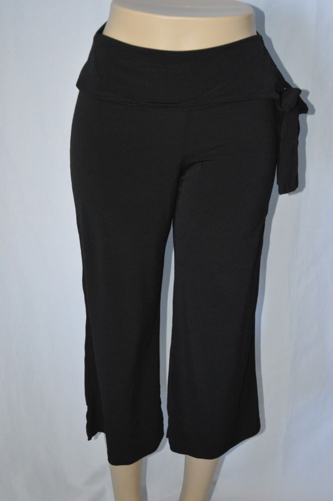 Ny Collection Womens XS Black NEW Stretch Capri Loose Fit Gaucho Style $50 #NYCollection #CaprisCropped