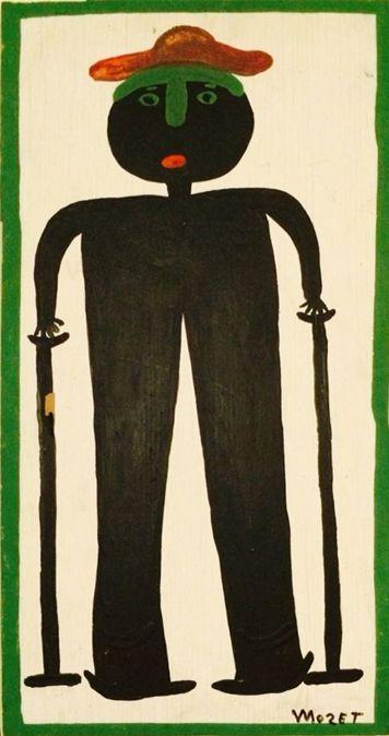 Der Afroamerikaner Mose Tolliver, 1924 (?)-2006, aus Alabama, begann nach einem schweren Unfall, der seine Beine zertrümmerte und ihn für den Rest seines Lebens arbeitsunfähig machte, als Autodidakt an zu malen. Er blieb zeitlebens behindert. seine Selbstbildnisse zeigen ihn mit Krücken, wie diese Arbeit, zu finden auf www.aussenseiterkunst.ch
