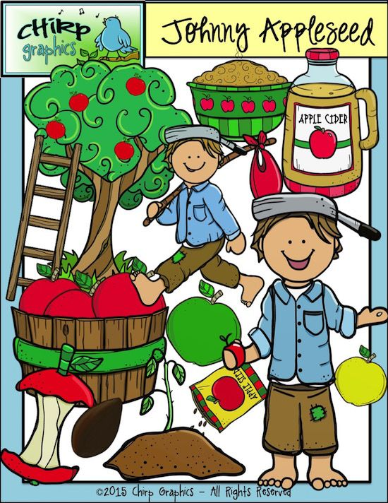 Johnny Appleseed Apple Clip Art Set - Chirp Graphics - 38 images in the set featuring Johnny Appleseed and a variety of images including apples, apple trees, applesauce, apple basket, apple core, apple seeds, ladder, apple cider, and more!  All images come in blackline, black and white, and one or more colour versions.
