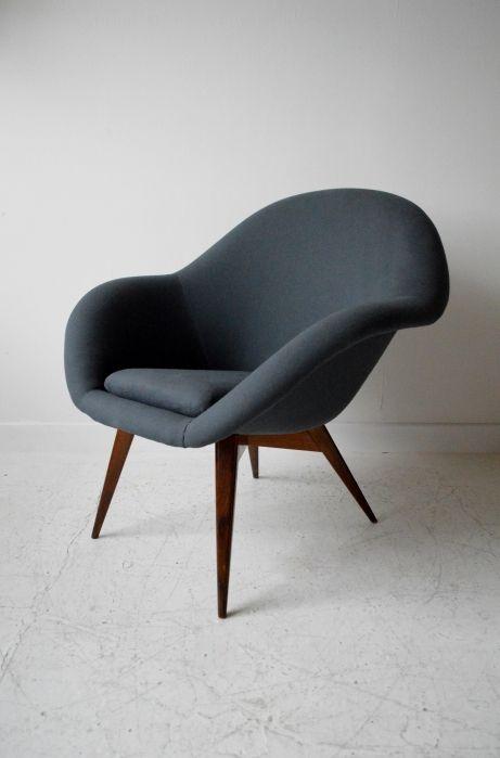 Anonymous; Stained Beech Lounge Chair by Drevodpodnik Holesav, 1950s.