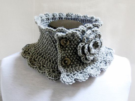 Hand Knit Neck Warmer Collar Grey Victorian Style   Crochet Wearables and T...