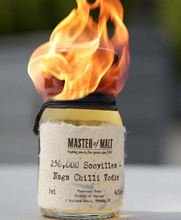 Naga Chilli Vodka | 13 Shots You Have To Be Crazy To Take Officially classified as the world's hottest vodka due to the heat of chili peppers added to the 40% alcohol.