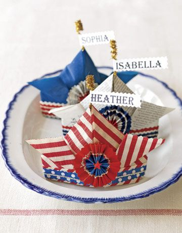Great Craft Idea's for July 4th. Festive Paper Hat Place Cards..Learn to