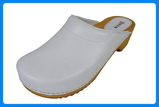 Buxa Unisex Weiß Holz und Leder Clogs mit Polsterung, Größe 38 - Clogs für frauen (*Partner-Link)