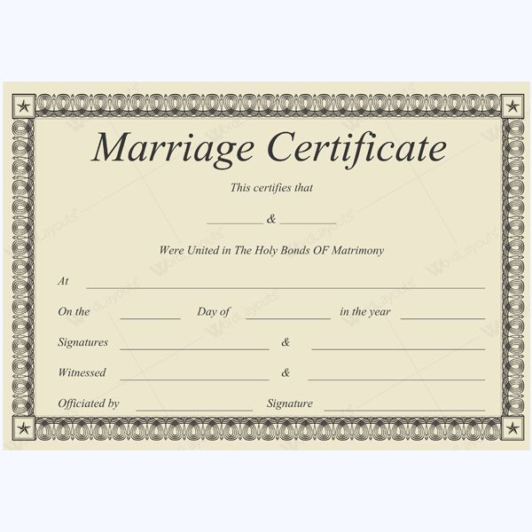Marriage Certificate 31 Marriage Certificate Templates