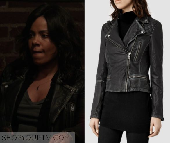 "Shots Fired: Season 1 Episode 8 Ashe's Black Quilted Leather Jacket | Shop Your TV Ashe Akino (Sanaa Lathan) wears this black quilted shoulder leather jacket in this episode of Shots Fired, ""Hour Eight: Rock Bottom"".  It is the AllSaints Cargo Leather Biker Jacket."