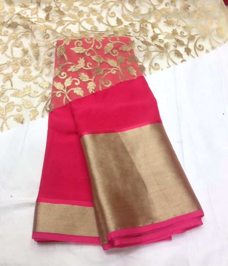 """Pretty pink georgette saree To purchase mail us at houseof2@live.com or whatsapp us on +919833411702 for further detail #sari #saree #satin #sarees…"""