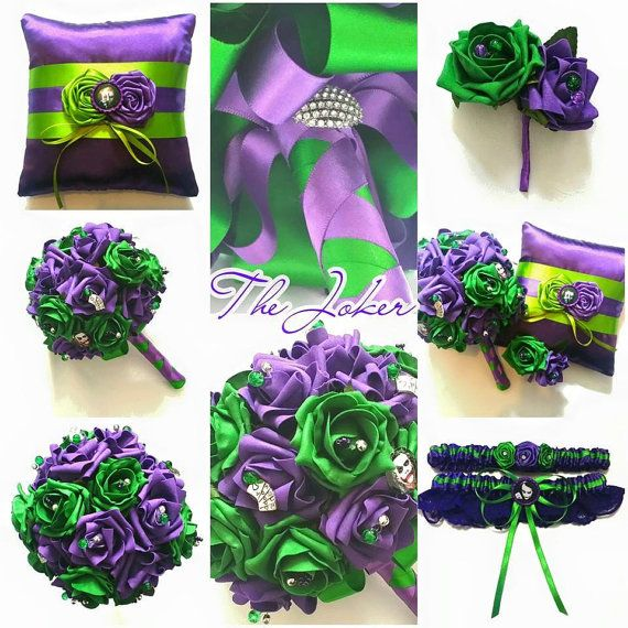 The Joker Themed Wedding/Bridal Set Bouquet by scarboroughrose