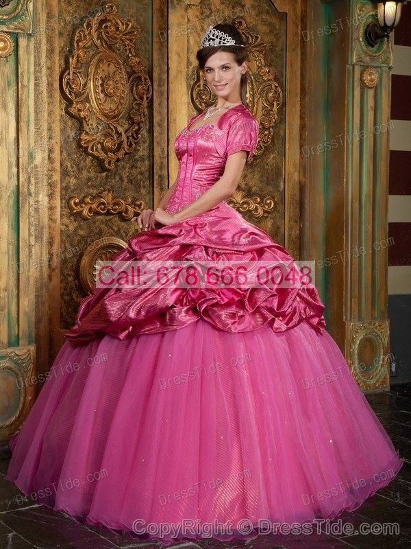 Sweetheart Dress of 15 with Shinning Beadings and Hot Pink Pick Ups - Quinceanera Dresses 2015 - Quinceanera Dresses