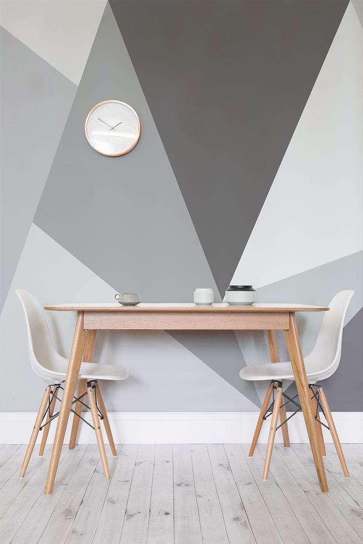 Want a modern twist on the traditional monochrome theme? This giant geometric wallpaper design is just the thing. Ideal for stylish dining room areas and the home office, it's a unique twist on traditional wall art.