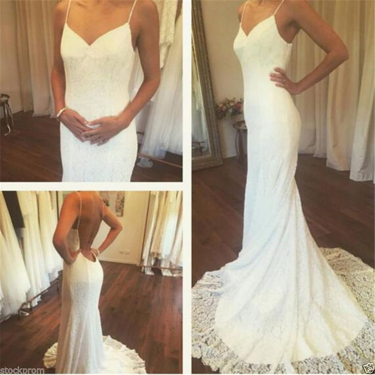 Sexy Mermaid Lace Wedding Dresses Spaghetti Backless Bridal Gowns Custom Made