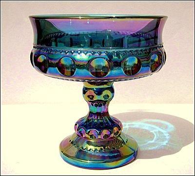 King's Crown Thumbprint Blue Carnival Glass Compote by Indiana Glass Company