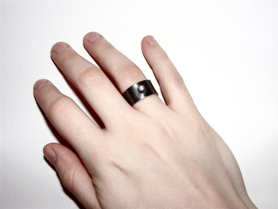 oxidized silver ring with zirconia by bvjewelry on Etsy, $100.00