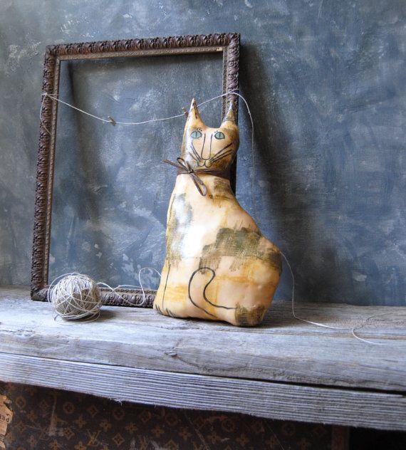 Vintage Hand Crafted Original Cat Soft Sculpture - Primitive Country Cat