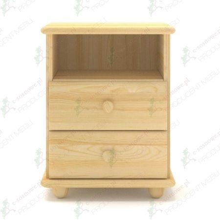 Szafka nocna SN03 sosnowa wyposażona w dwie szuflady oraz wnękę pod górnym blatem, wykonana z litego drewna sosnowego.