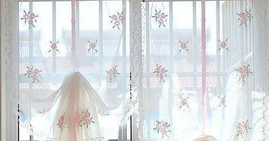Cortinas de Cocina Visillos Florales con Lazo, semi transparentes. Son ideales para cubrir ventanas de cocina, o como alternativa baño ...