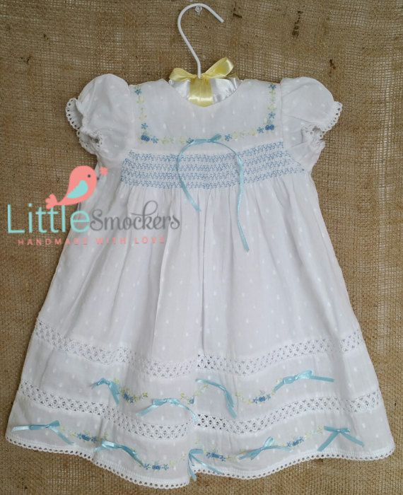 Hand Smocked christening dress in white and baby blue size