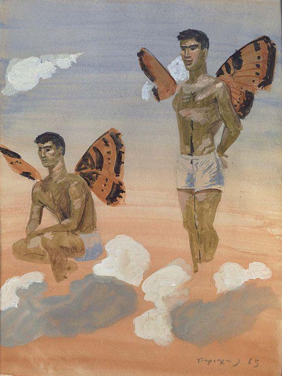 Τσαρούχης Γιάννης – Yannis Tsarouchis [1910-1989], Δύο άνδρες με φτερά πεταλούδας, 1965 | paletaart