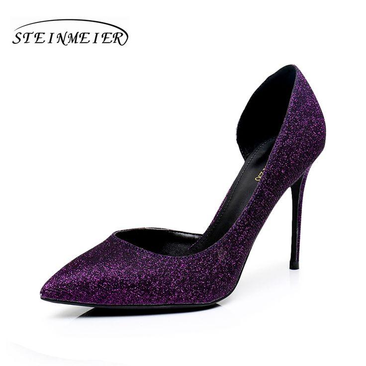 Для женщин Обувь на высоком каблуке качество 10 см тонкий каблук с острым носком US6.5 боками блеск кожи фиолетовый синий свадебные женские туфли лодочки купить на AliExpress