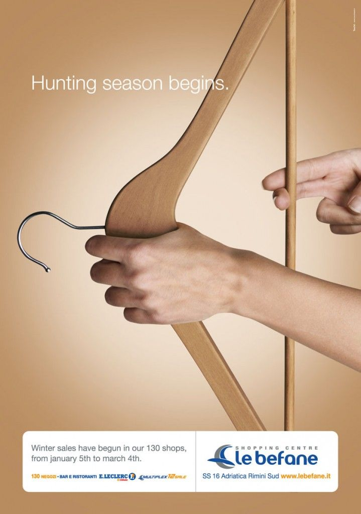 "Le Befane Mall Winter Sale Ad: ""Hunting season begins."" #advertising #wintersale #bow   #ads #marketing #creative #werbung #print #poster #advertising #campaign < repinned by www.BlickeDeeler.de   Have a look on www.Printwerbung-Hamburg.de"