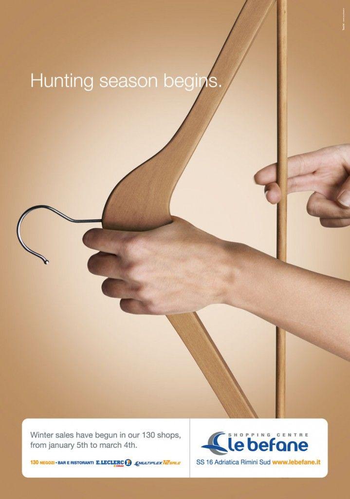"Le Befane Mall Winter Sale Ad: ""Hunting season begins."" #advertising #wintersale #bow | #ads #marketing #creative #werbung #print #poster #advertising #campaign < repinned by www.BlickeDeeler.de | Have a look on www.Printwerbung-Hamburg.de"