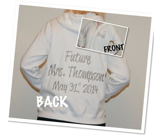 Future Mrs. With Date Custom Bride Hoodie Bridal Zip Up. Bling Sweatshirt. Sparkly Bling. Bridal Shower. Bachelorette Party. Wedding Party. on Etsy, $35.00