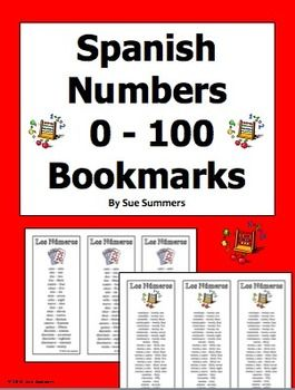 Spanish Numbers Bookmarks / Bilingual Bookmarks 0 - 100 by Sue Summers - Help your students remember numbers with these bilingual bookmarks!   One side has numbers 0 - 20, and the other has 21 - 39, plus 40, 50, 60, 70, 80, 90, and 100.  Both sides have bilingual number words.  Just copy back to back, cut, and share with your students!
