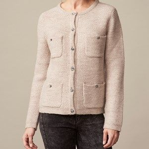 BIOWOOL short heavy cardigan with pockets, beige melange. Cool cardigan with 4 pockets. Can be used as an alternative blazer jacket for the office. Made by the softest sustainable eco Italian wool. Original Liberty fabric is used for details in the neck and on the buttons. Coloured with nature colours.