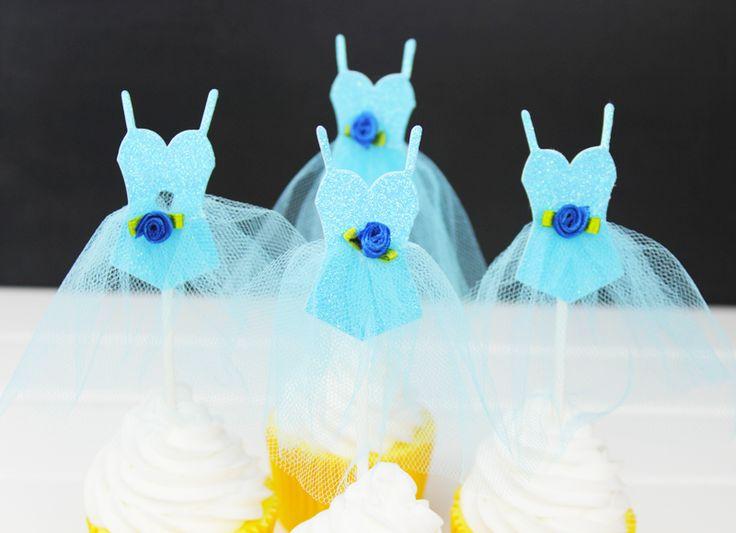 Beautiful  New  Blue DressTheme Wedding Decoration Supplies Cartoon Cupcake Toppers Picks Kids Birthday Party Decorations