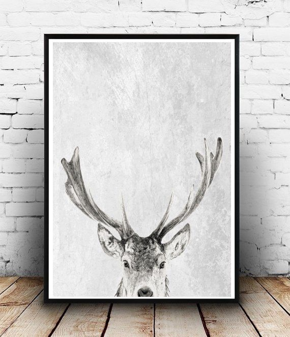 Deer Print Deer Art Antlers Print Instant by honeytreeprints