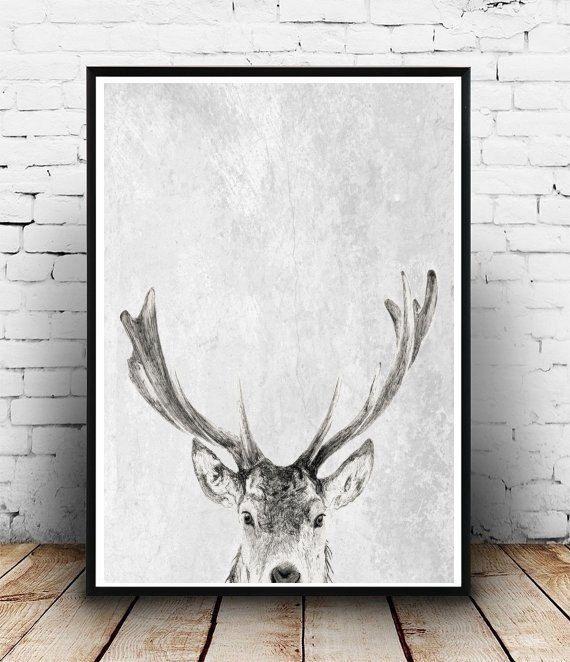 Stampa di cervi cervi arte Antlers stampa di honeytreeprints