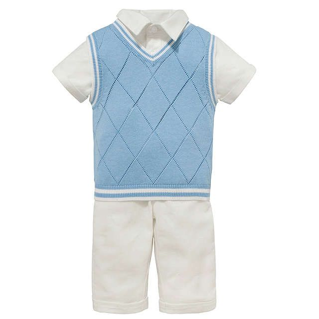 BuyJohn Lewis Baby's Linen Outfit, Cream/Blue, 0-3 months Online at johnlewis.com