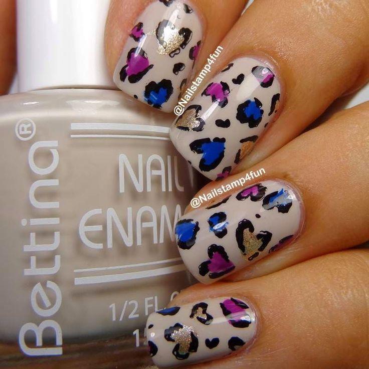 Heart Shaped Leopard Nails: Using Bunny Nails HD-B