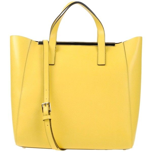 Coccinelle Handbag (3 070 ZAR) ❤ liked on Polyvore featuring bags, handbags, yellow, yellow leather purse, gladstone bag, yellow leather handbag, leather doctor bag handbag and yellow handbag