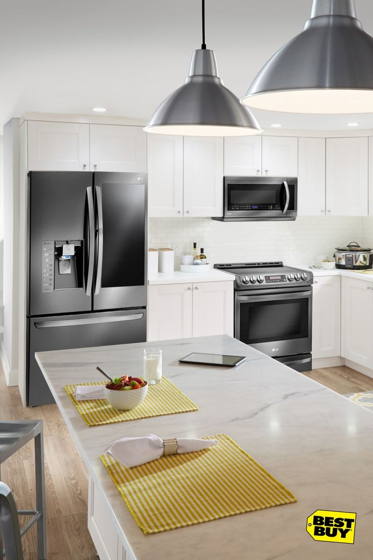 Weighing the options for your kitchen remodel? LG can get more out of your kitchen. Like this InstaView Door-in-Door refrigerator. Just knock twice on the window and the lights turn on. See inside without opening the door. Or clean up with ease with the EasyClean technology in this ExtendaVent microwave. And black stainless steel makes all your upgrades satin-smooth and sophisticated, from dishwashers to oven ranges. Best Buy has all the appliances you need.