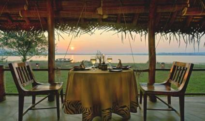 Riverside dining at Orange County Kabini, Karnataka, India