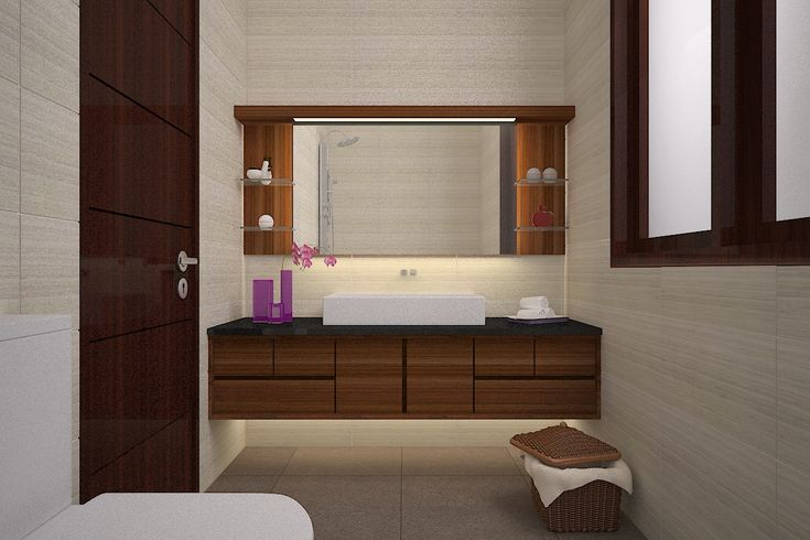 Kamar mandi minimalis furnitur bertekstur kayu   Portofolio By : Intervisual (Interior Designer di Sejasa.com)