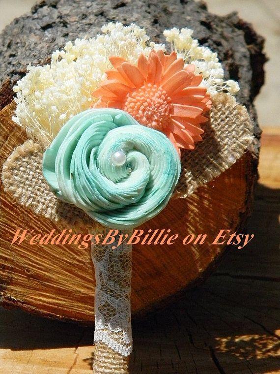 Check out Weddings, Bridal Accessories, Mint Coral Burlap Boutonniere, Alternative Boutonniere, Boutonniere,Sola,Groomsmen,Wedding Flowers, Buttonhole on weddingsbybillie