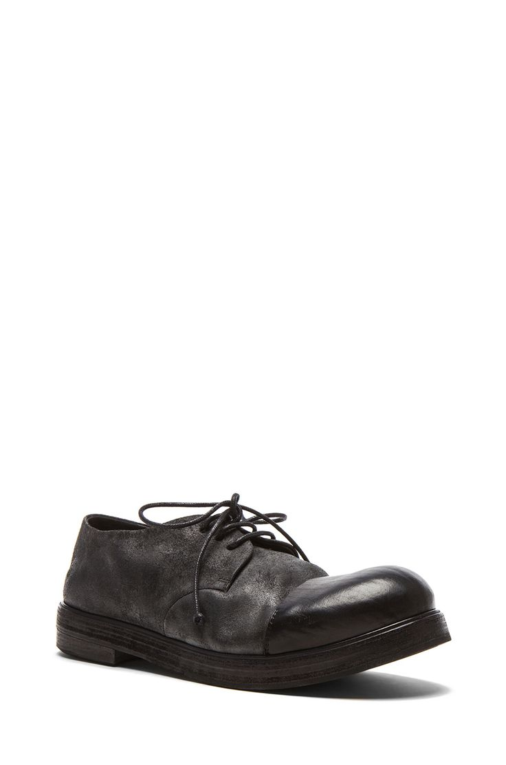 Image 1 of Marsell Cap Toe Leather Dress Shoes in Black