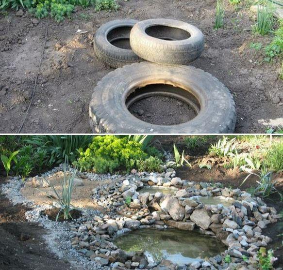 Vous pouvez même vous servir de vos vieux pneus pour faire de petites mares !