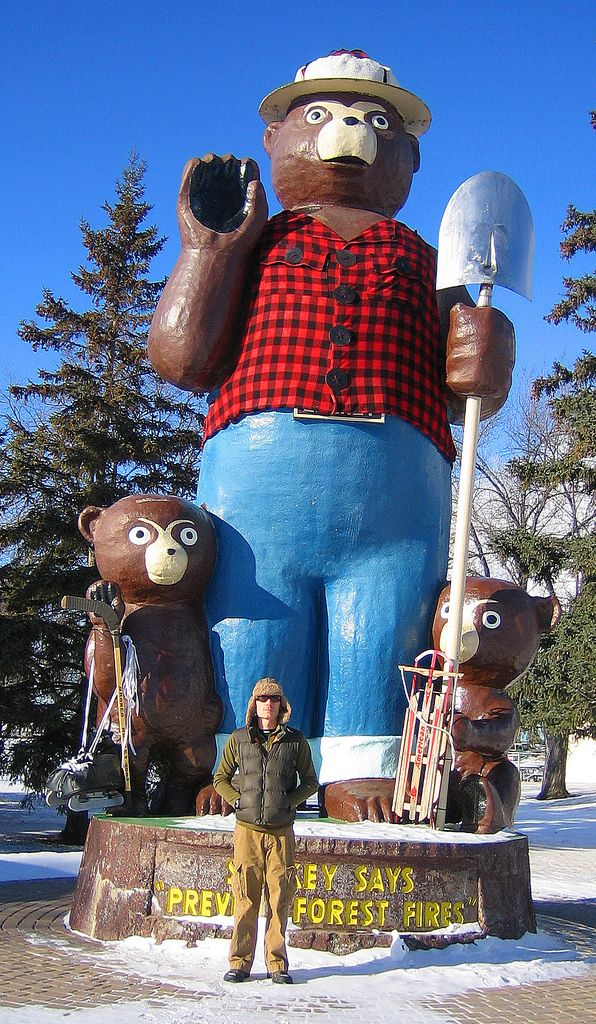 Smokey the Bear - Winter - International Falls, MN   I need a picture of my family with this statue to put in my Christmas cards!