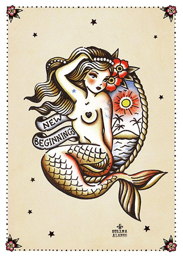 Title: New Beginnings Artist: Susana AlonsoSusana Alonso paints a perfect topless tropical mermaid tattoo. Susana Alonso's artwork encompasses pin-ups, sexy bur