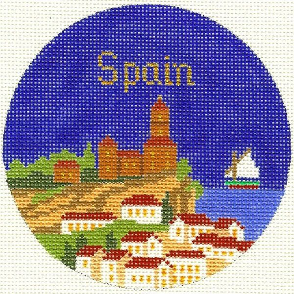Spain travel round needlepoint from The Silver Needle