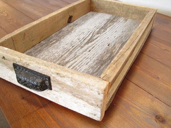 serving tray from barn wood with metal handle