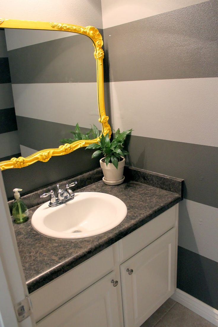 Superb Yellow Bathroom Sink Part - 10: Love The Yellow Mirror With Grey Striped Wall