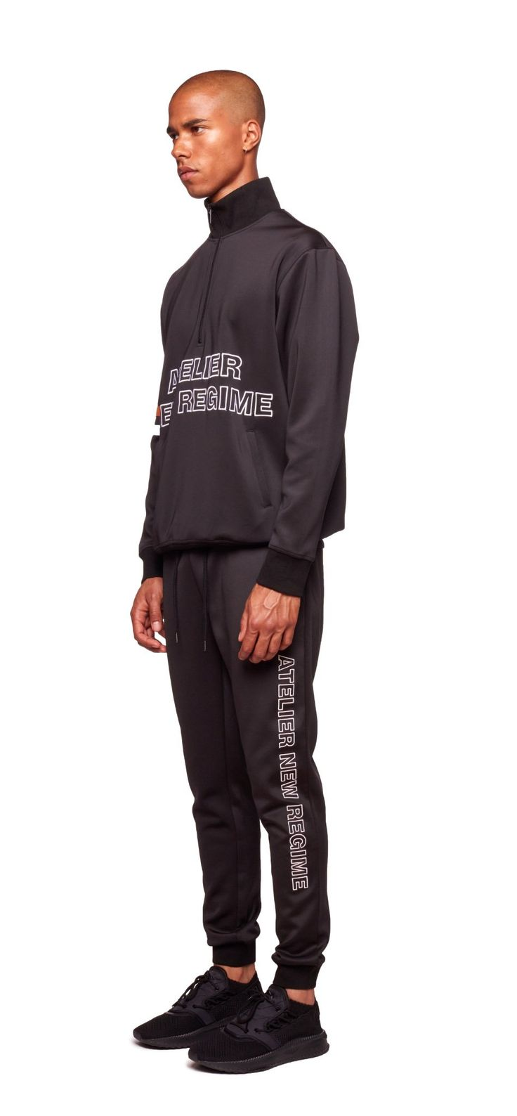 Atelier New Regime Logo Track Pants and Logo Track Jacket in black. #tracksuit