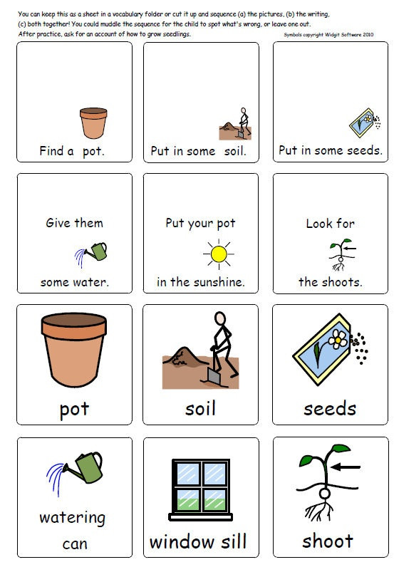 Symbols (c) Widgit Software 2010. Illustrated vocabulary pages with simple planting and growing sequence and parts of plants/ Count down in 2s - plants (incl. naming minibeasts and other animals plus info on food chains / food-chains). Items to count are presented in the same layout as Numicon pieces. Sheets about the story of wheat and information on compost / humus are included here although they also appear as separate resources.