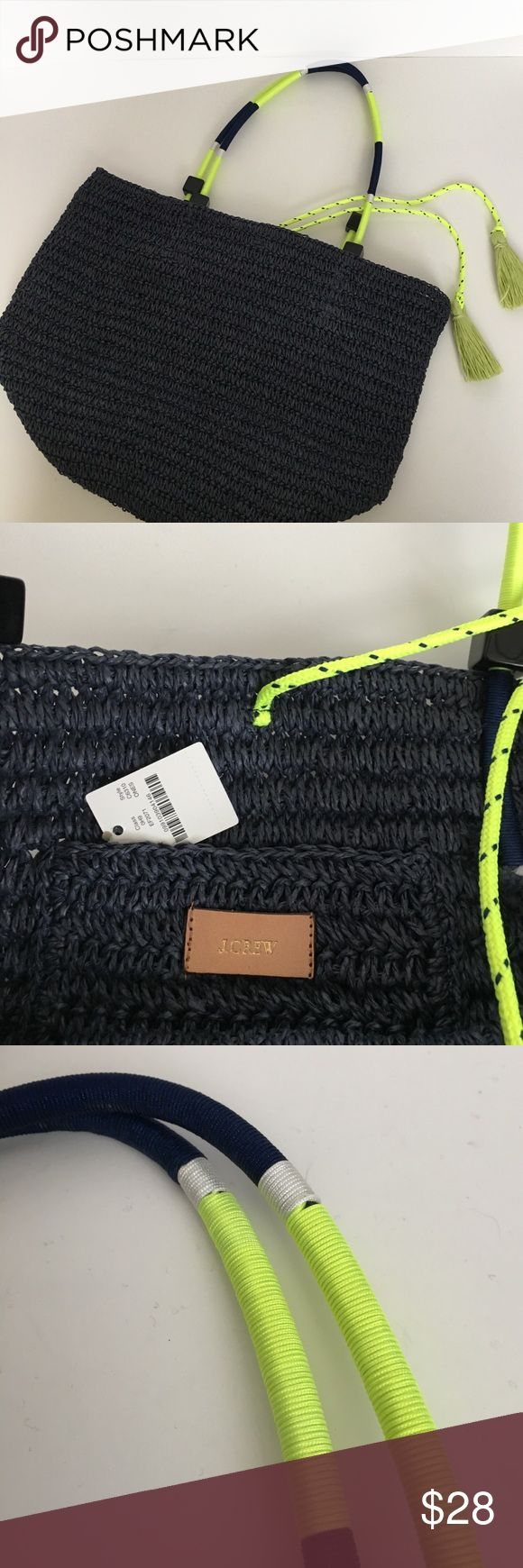 J crew bag Navy blue and neon green straw bag J. Crew Bags Totes